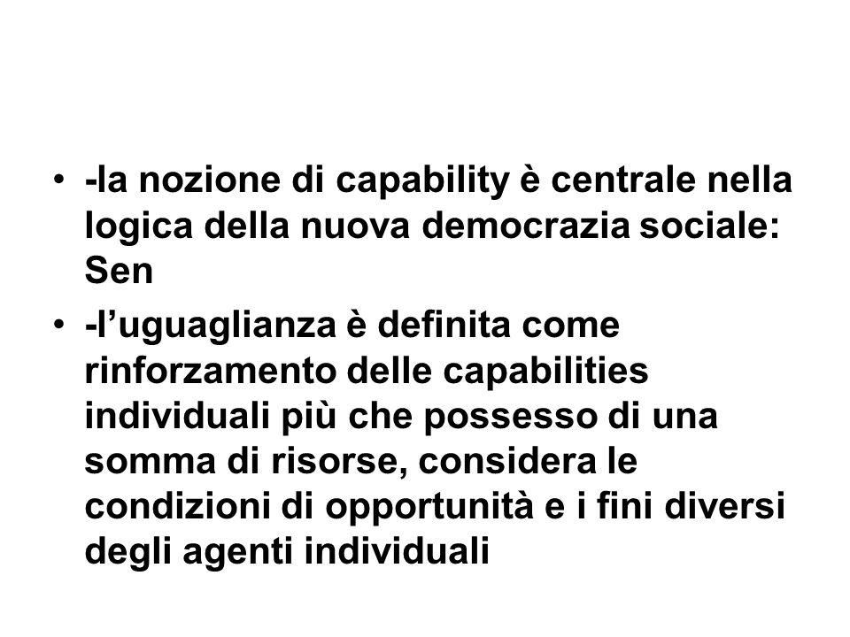 -la nozione di capability è centrale nella logica della nuova democrazia sociale: Sen