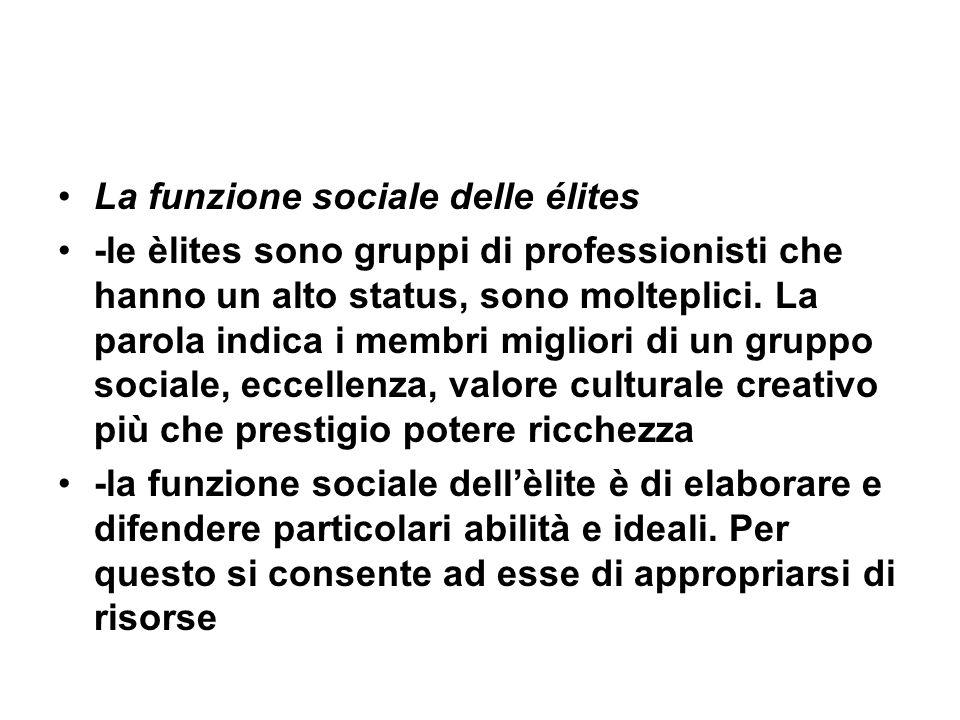 La funzione sociale delle élites