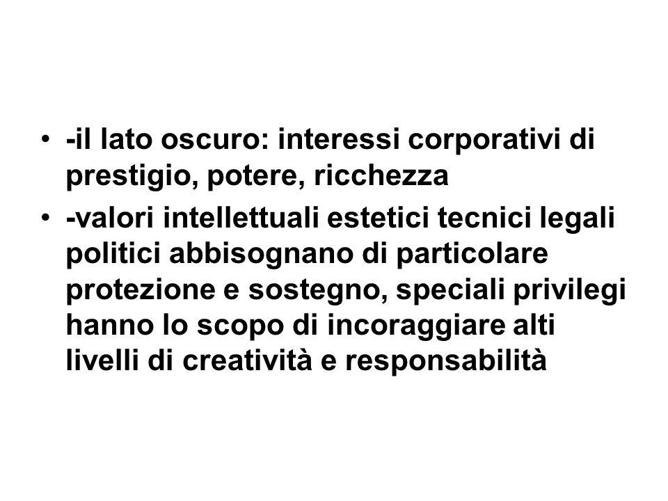 -il lato oscuro: interessi corporativi di prestigio, potere, ricchezza