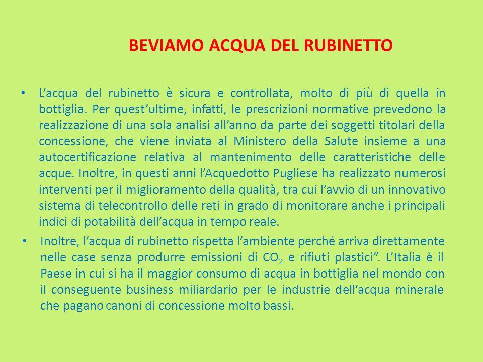 BEVIAMO ACQUA DEL RUBINETTO