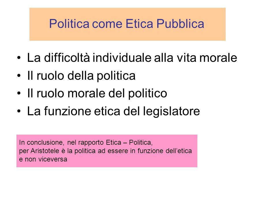 Politica come Etica Pubblica