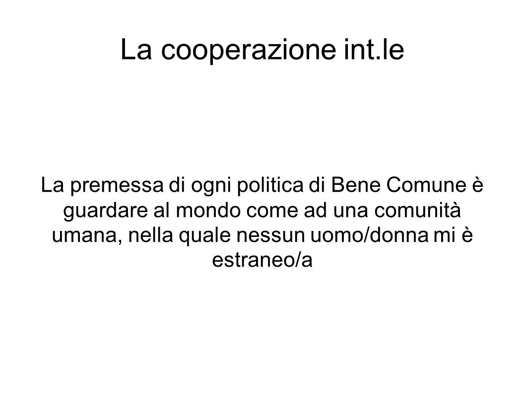 La cooperazione int.le