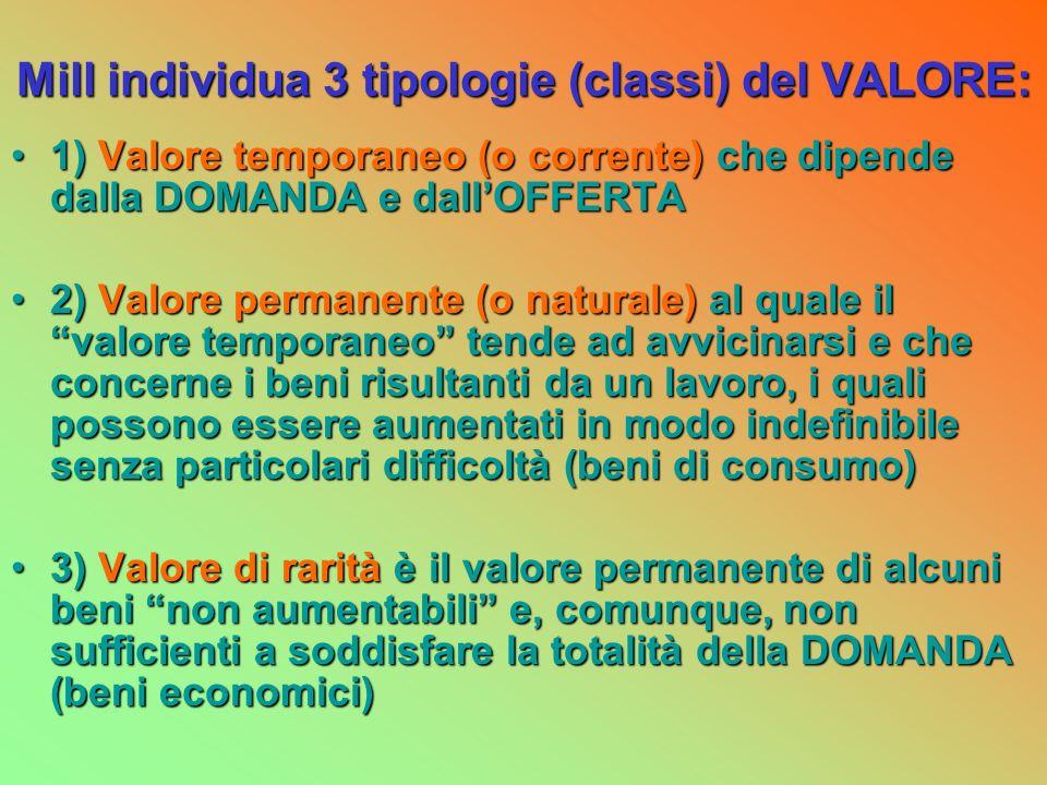 Mill individua 3 tipologie (classi) del VALORE: