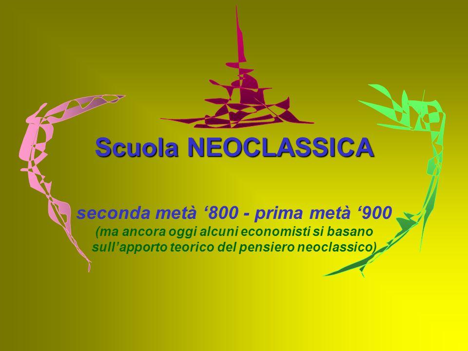 Scuola NEOCLASSICA seconda metà '800 - prima metà '900 (ma ancora oggi alcuni economisti si basano sull'apporto teorico del pensiero neoclassico)