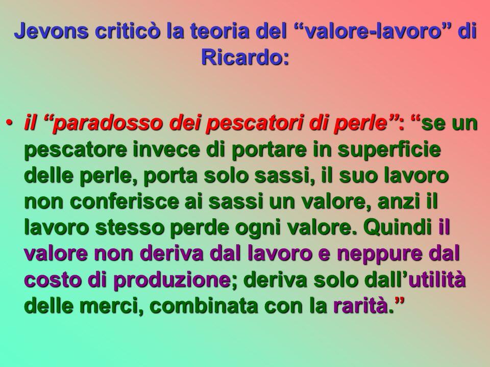 Jevons criticò la teoria del valore-lavoro di Ricardo: