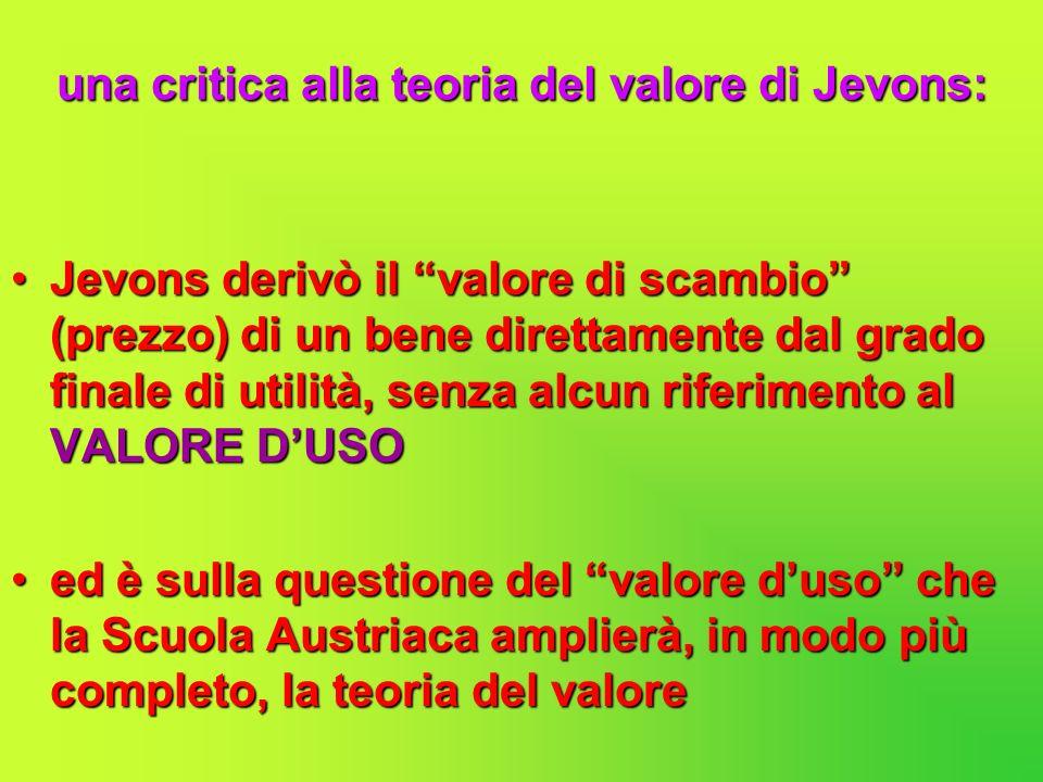 una critica alla teoria del valore di Jevons: