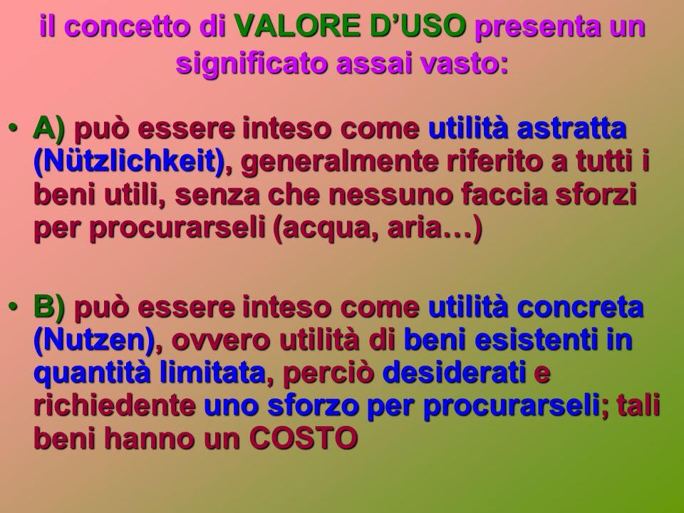 il concetto di VALORE D'USO presenta un significato assai vasto: