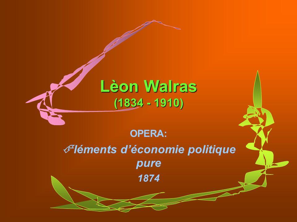 OPERA: léments d'économie politique pure 1874