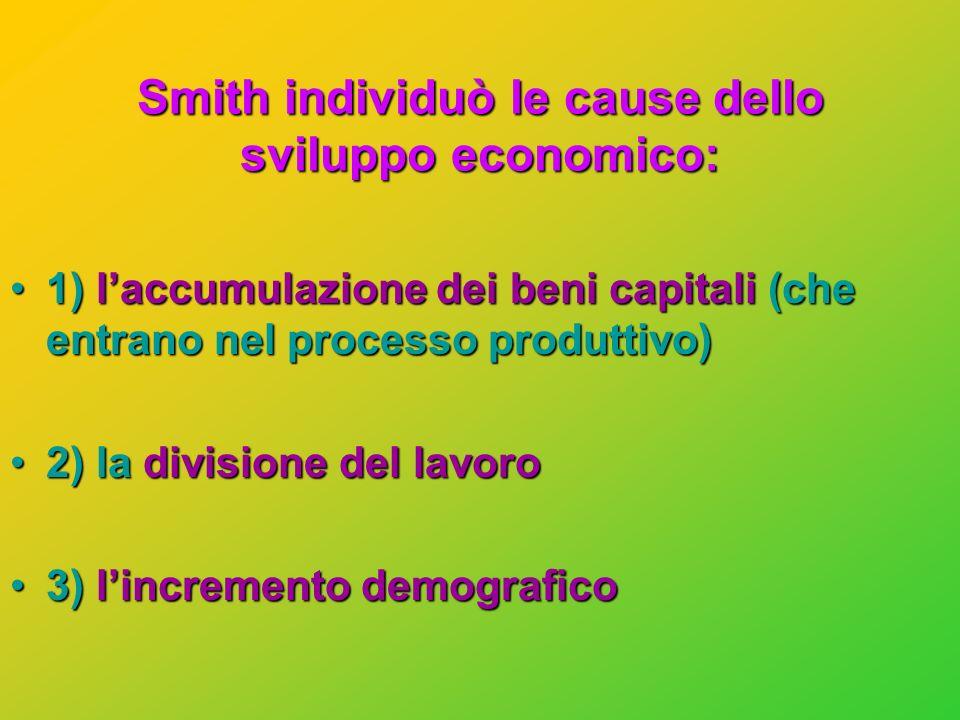 Smith individuò le cause dello sviluppo economico: