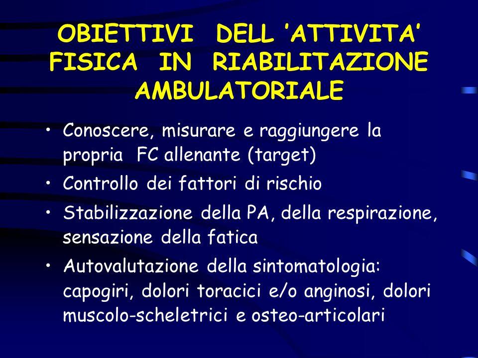OBIETTIVI DELL 'ATTIVITA' FISICA IN RIABILITAZIONE AMBULATORIALE