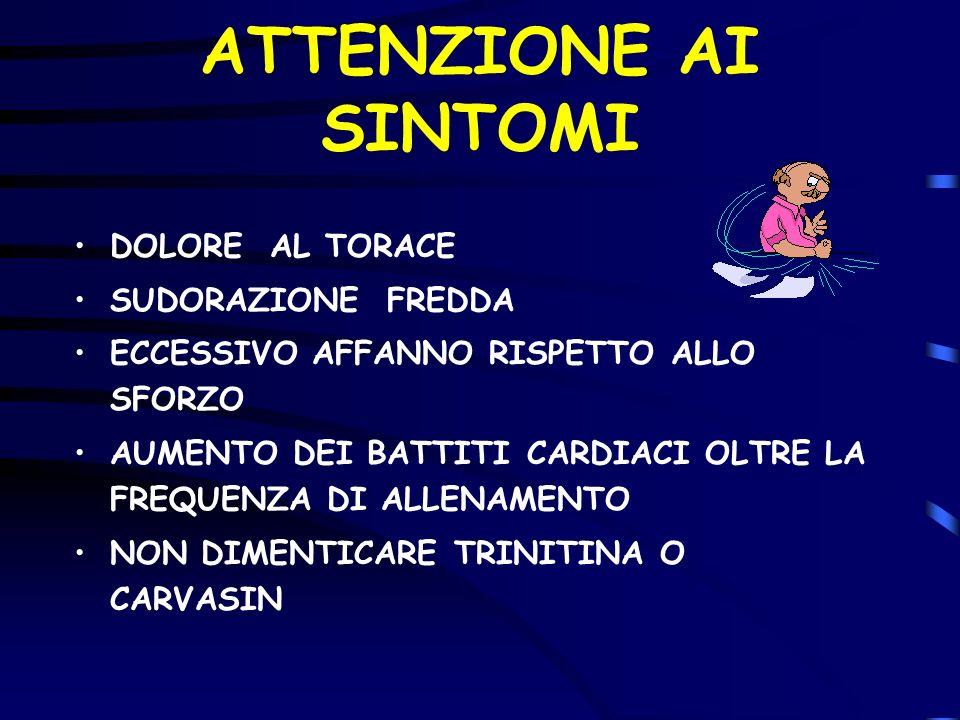 ATTENZIONE AI SINTOMI DOLORE AL TORACE SUDORAZIONE FREDDA