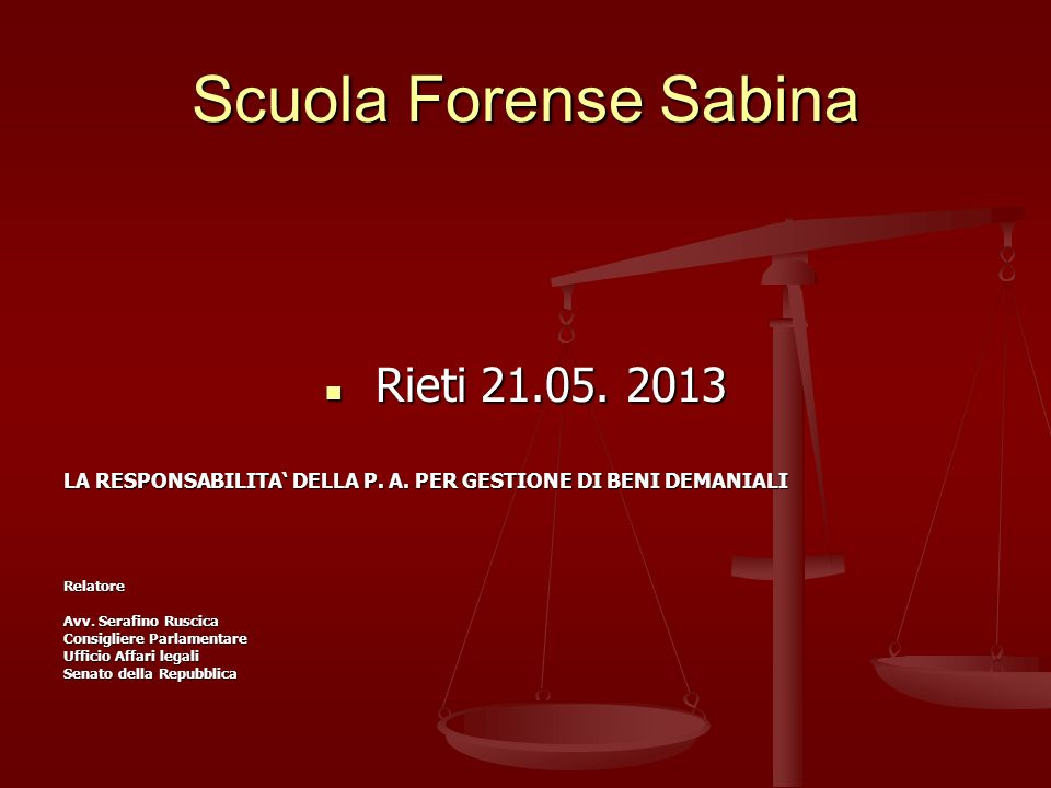 Scuola Forense Sabina Rieti 21.05. 2013