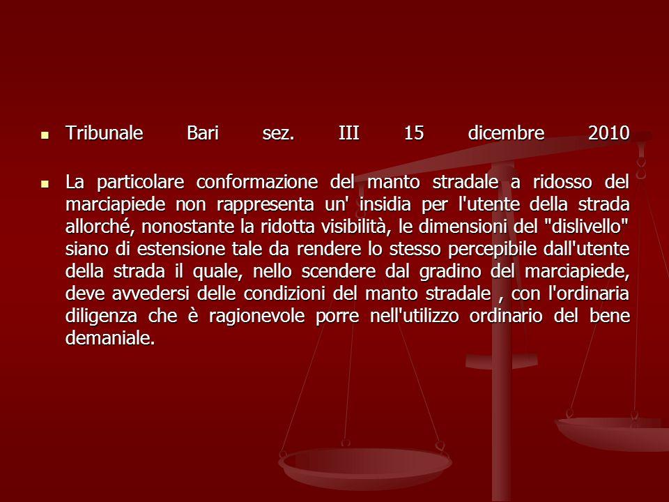 Tribunale Bari sez. III 15 dicembre 2010