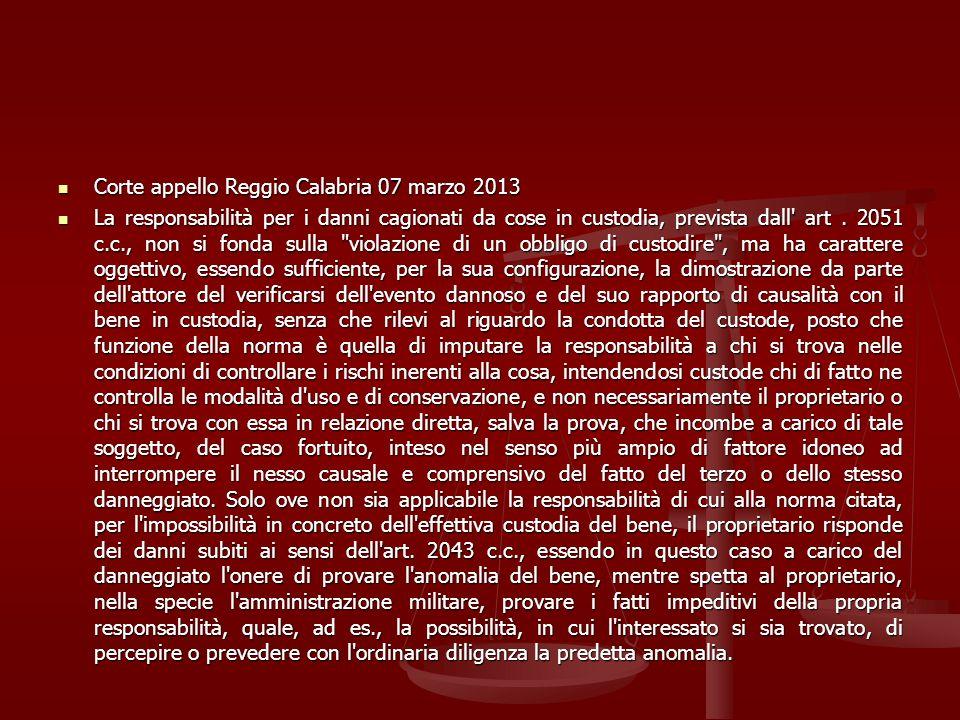 Corte appello Reggio Calabria 07 marzo 2013