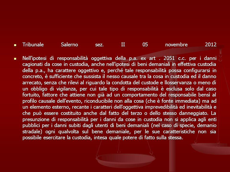 Tribunale Salerno sez. II 05 novembre 2012