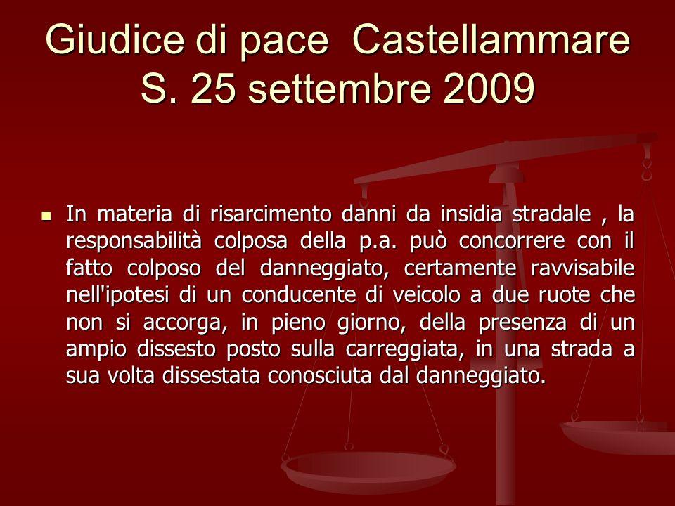 Giudice di pace Castellammare S. 25 settembre 2009