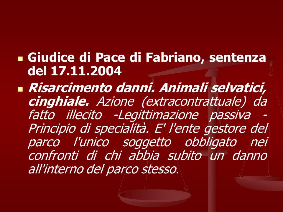 Giudice di Pace di Fabriano, sentenza del 17.11.2004