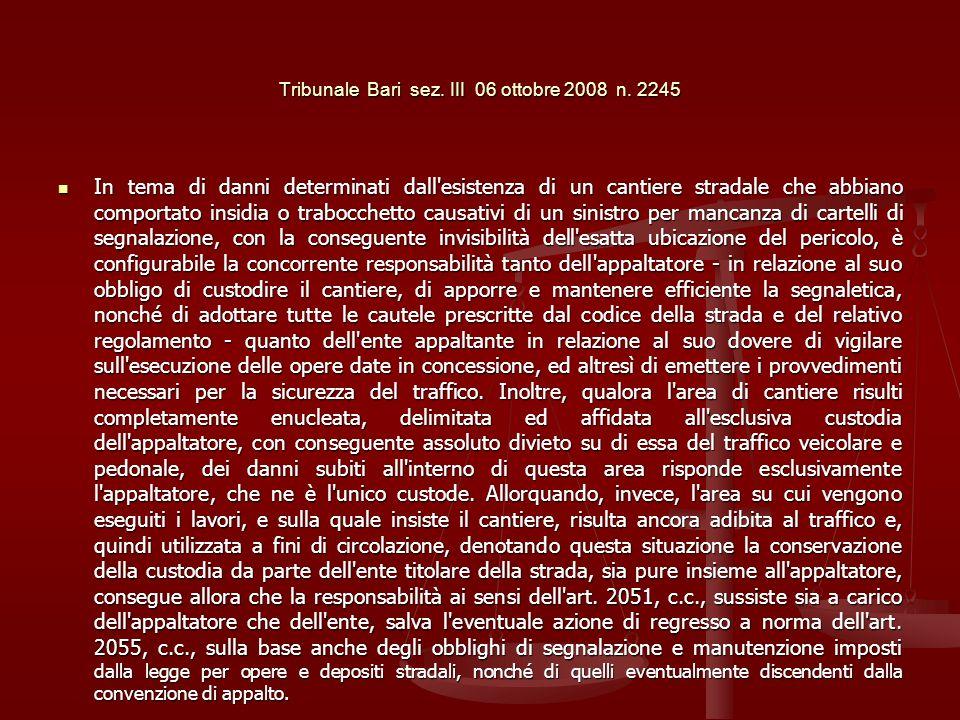 Tribunale Bari sez. III 06 ottobre 2008 n. 2245