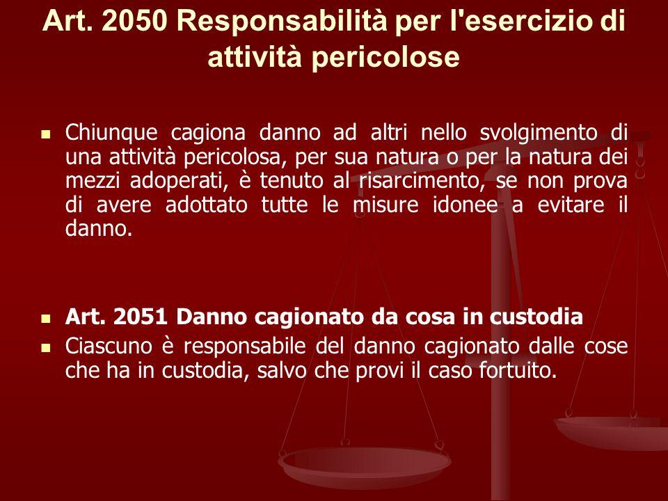 Art. 2050 Responsabilità per l esercizio di attività pericolose