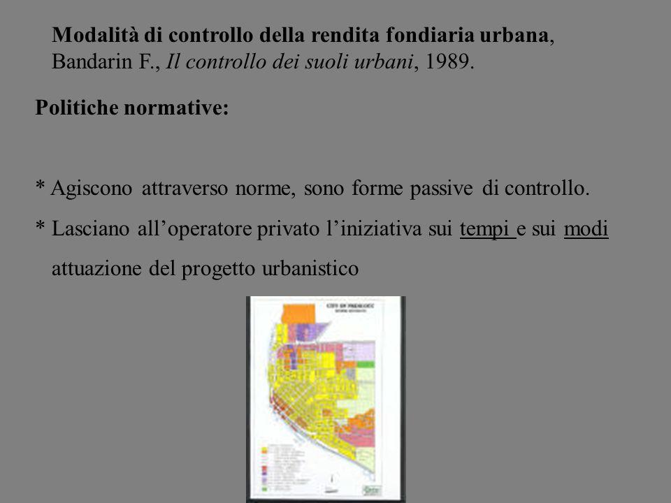 Modalità di controllo della rendita fondiaria urbana, Bandarin F
