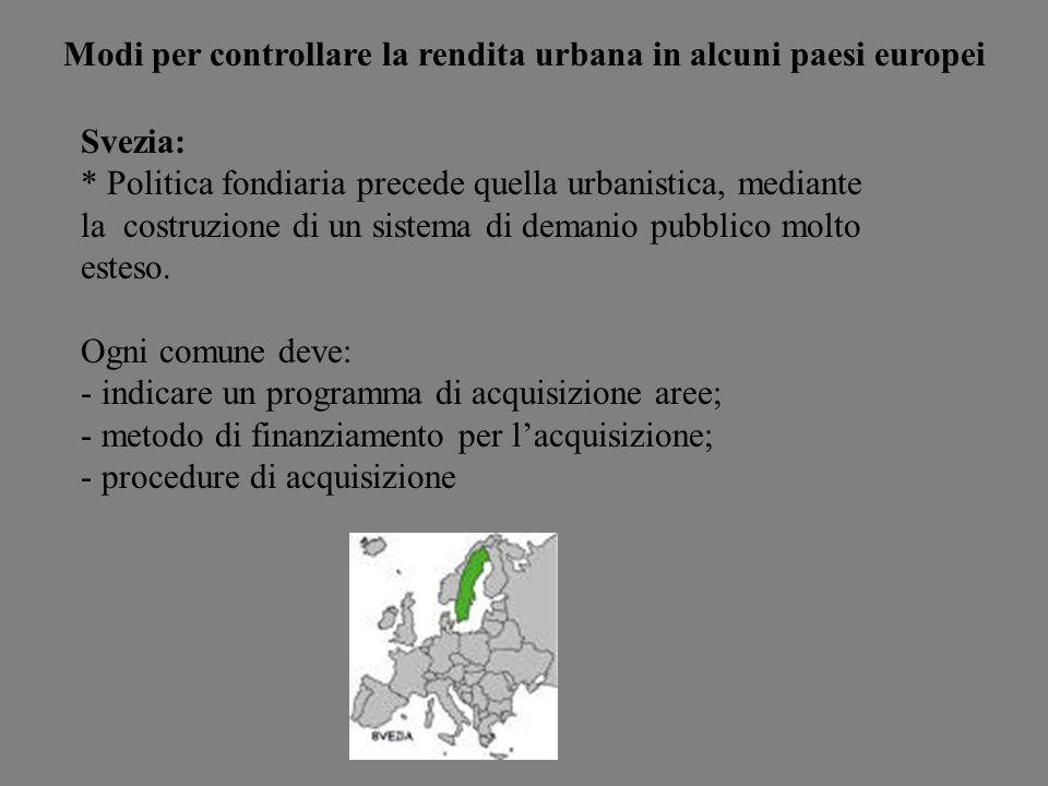 Modi per controllare la rendita urbana in alcuni paesi europei