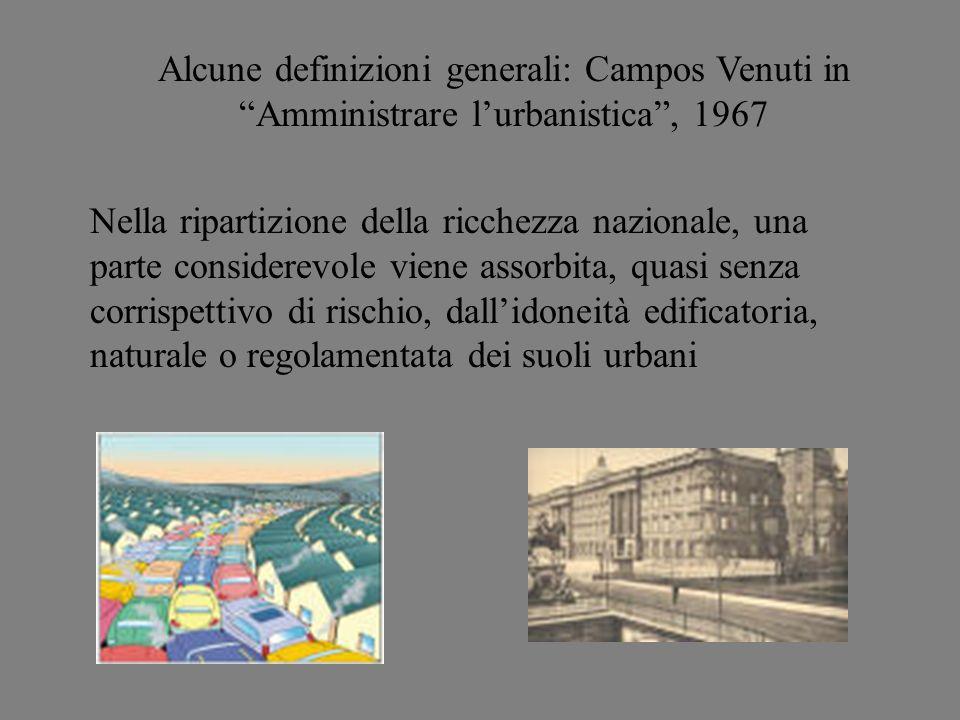 Alcune definizioni generali: Campos Venuti in Amministrare l'urbanistica , 1967