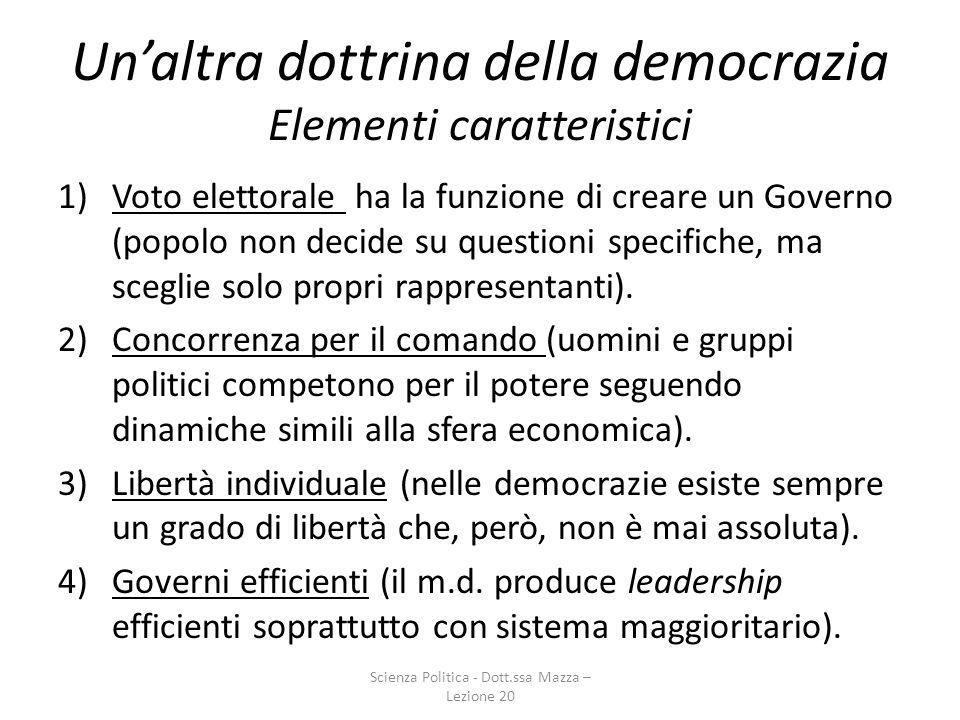 Un'altra dottrina della democrazia Elementi caratteristici
