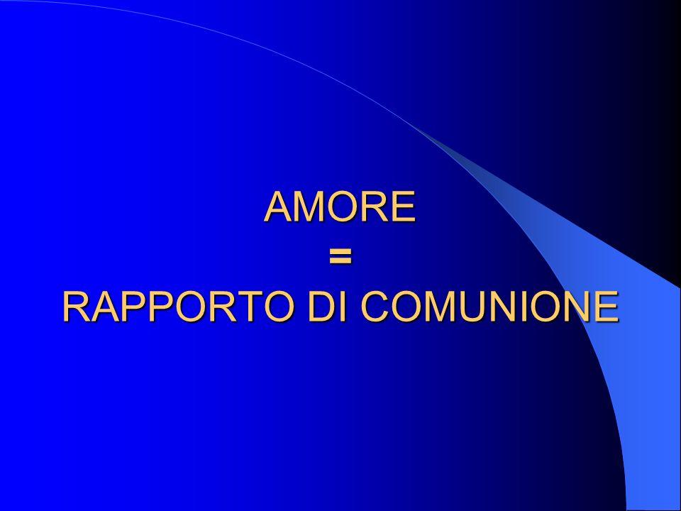 AMORE = RAPPORTO DI COMUNIONE