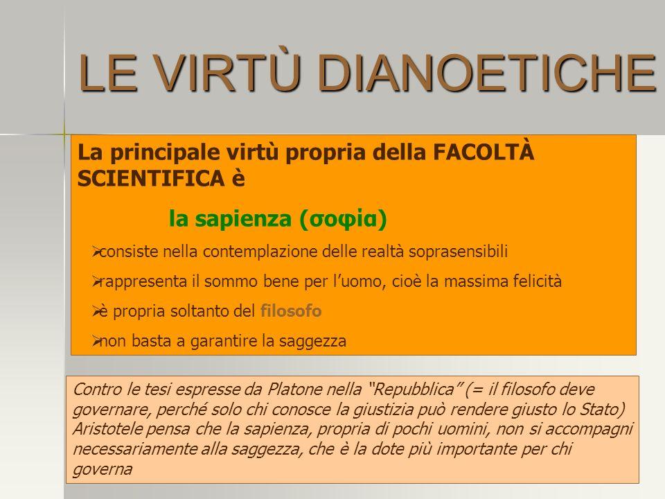 LE VIRTÙ DIANOETICHE La principale virtù propria della FACOLTÀ SCIENTIFICA è. la sapienza (σοφία)