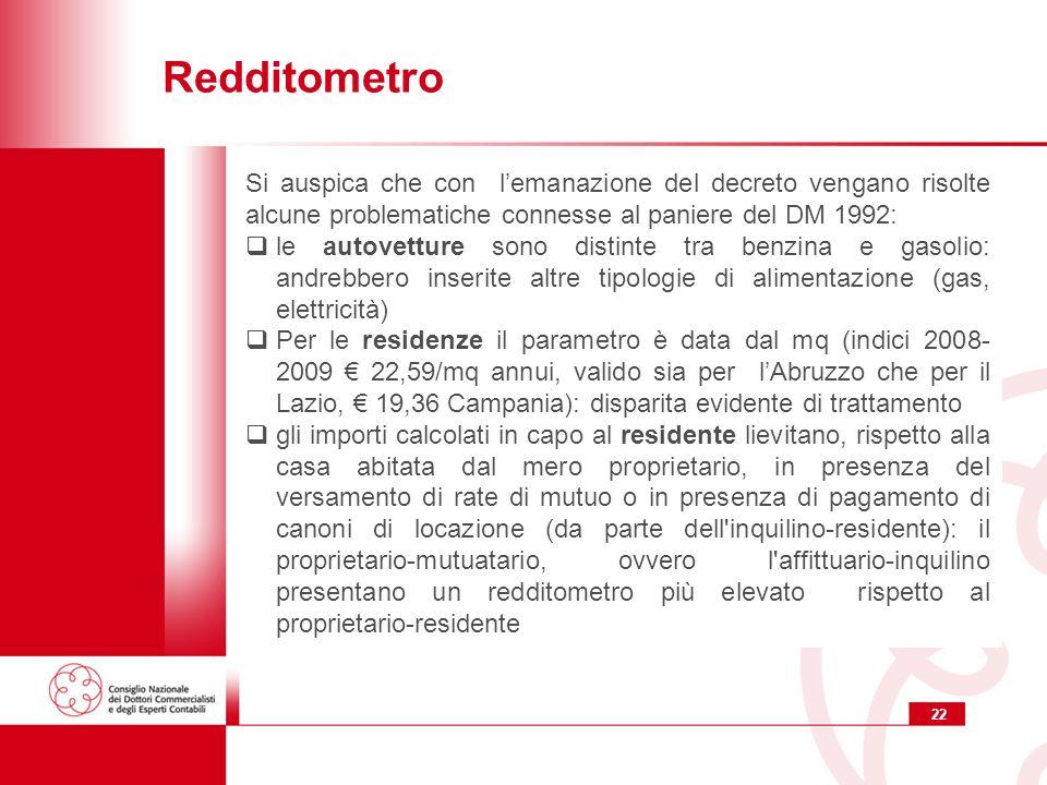 Redditometro Si auspica che con l'emanazione del decreto vengano risolte alcune problematiche connesse al paniere del DM 1992: