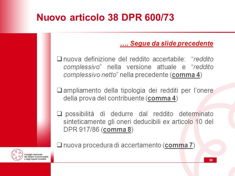 Nuovo articolo 38 DPR 600/73 …. Segue da slide precedente