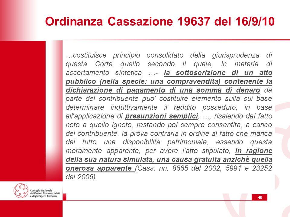 Ordinanza Cassazione 19637 del 16/9/10