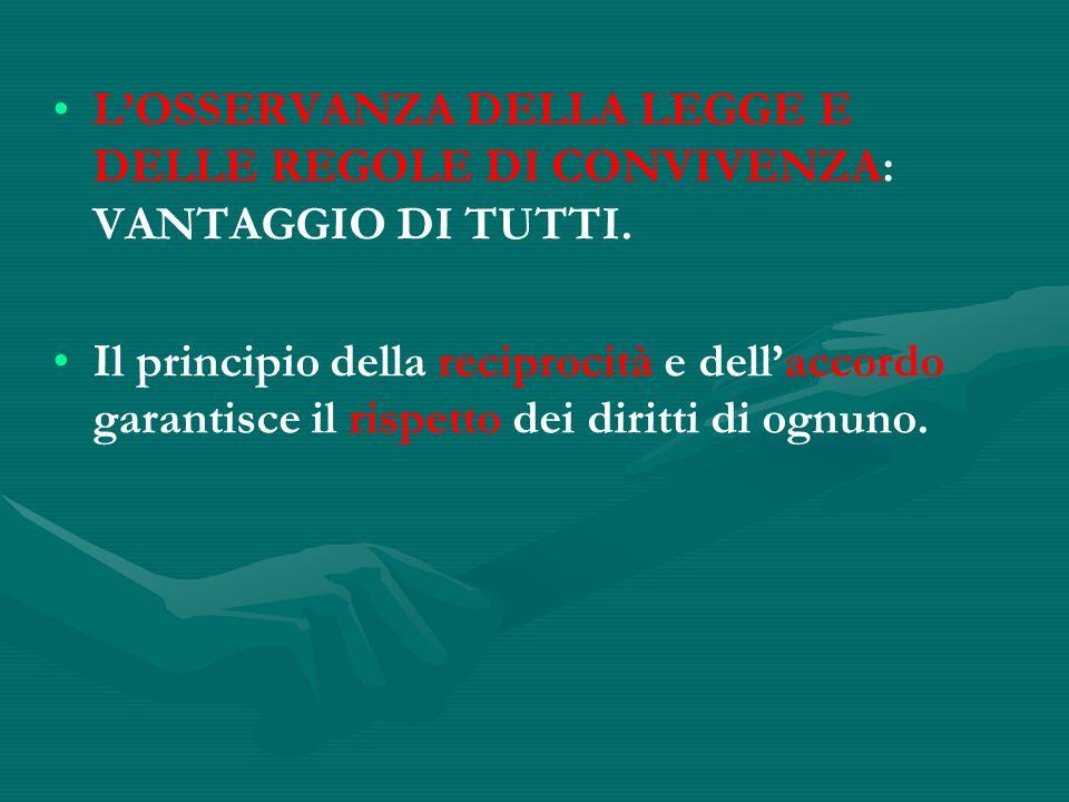 L'OSSERVANZA DELLA LEGGE E DELLE REGOLE DI CONVIVENZA: VANTAGGIO DI TUTTI.