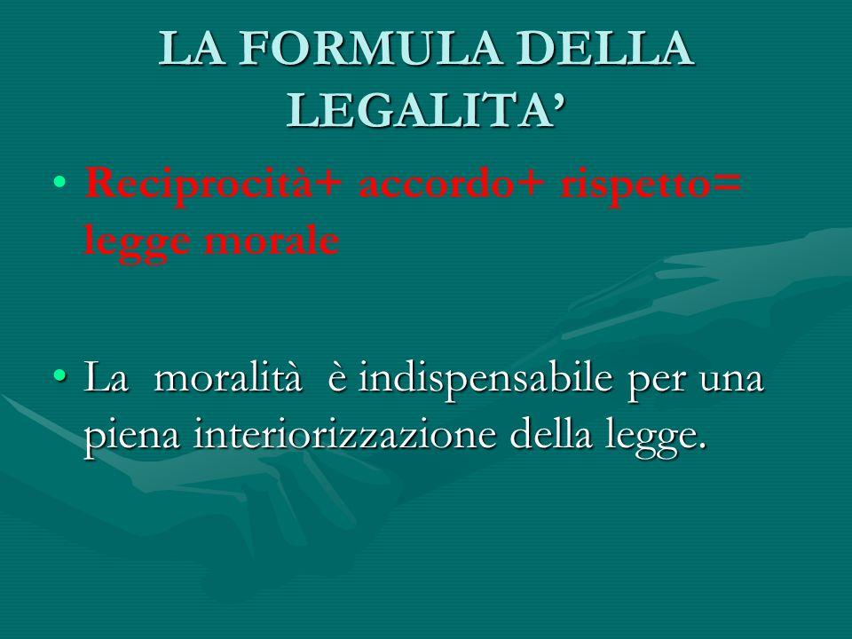 LA FORMULA DELLA LEGALITA'