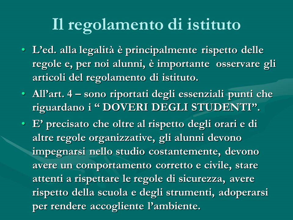 Il regolamento di istituto