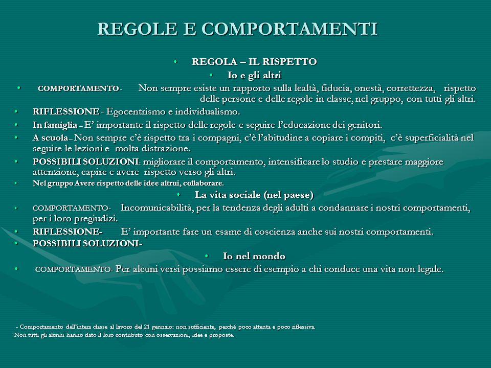 REGOLE E COMPORTAMENTI