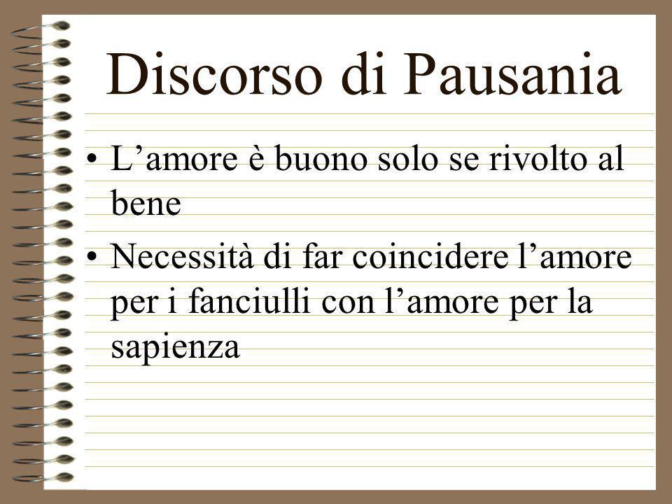 Discorso di Pausania L'amore è buono solo se rivolto al bene