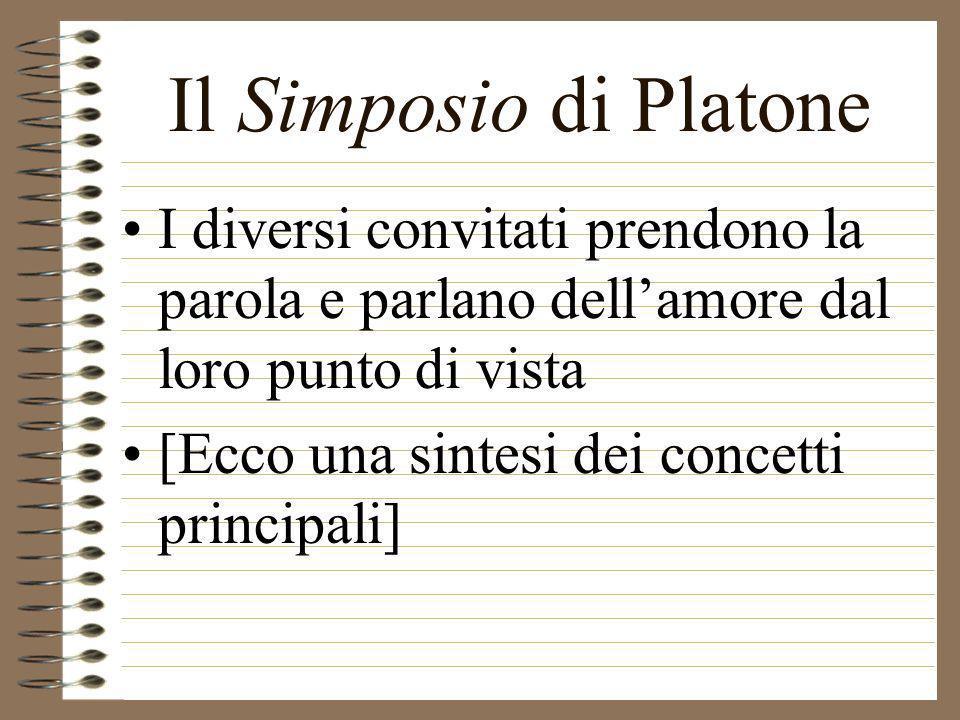 Il Simposio di Platone I diversi convitati prendono la parola e parlano dell'amore dal loro punto di vista.