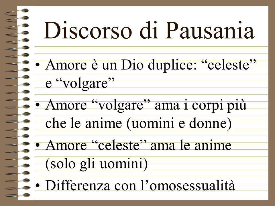 Discorso di Pausania Amore è un Dio duplice: celeste e volgare