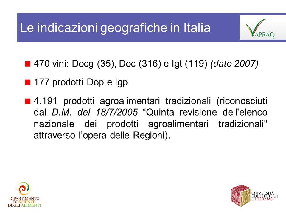 Le indicazioni geografiche in Italia