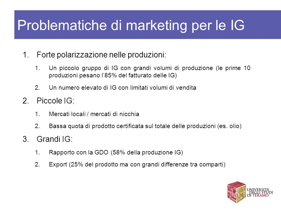Problematiche di marketing per le IG
