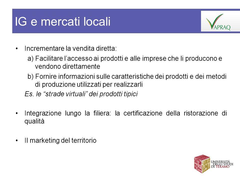 IG e mercati locali Incrementare la vendita diretta: