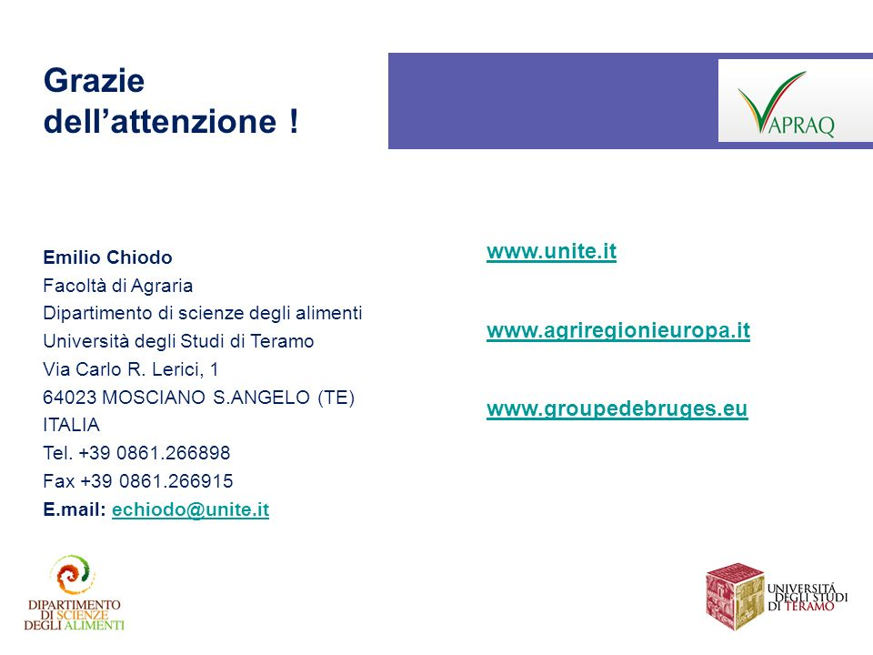 Grazie dell'attenzione ! www.unite.it www.agriregionieuropa.it