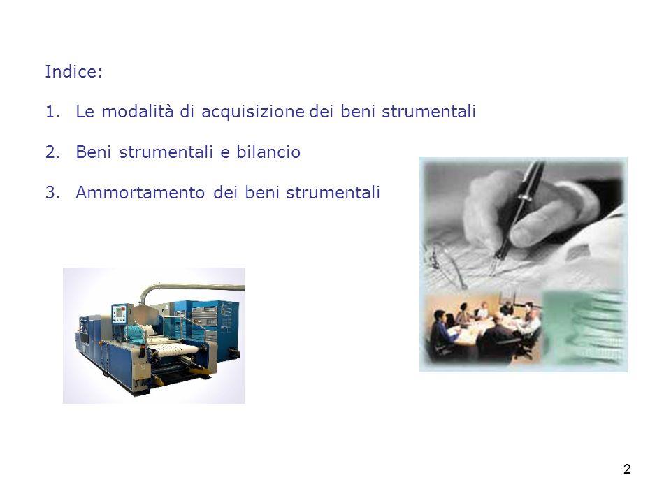 Indice: Le modalità di acquisizione dei beni strumentali.