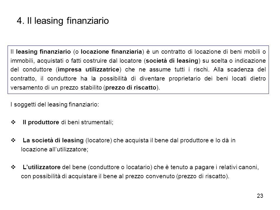 4. Il leasing finanziario