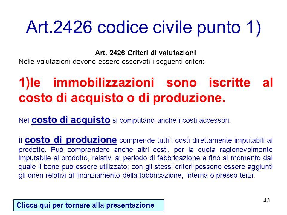 Art.2426 codice civile punto 1)