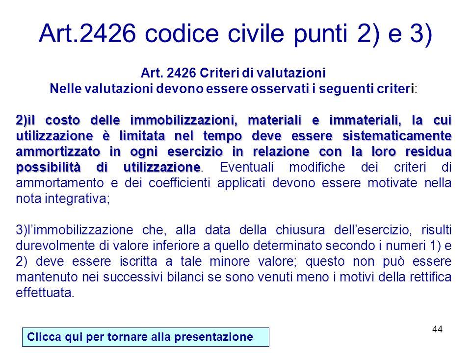 Art. 2426 Criteri di valutazioni
