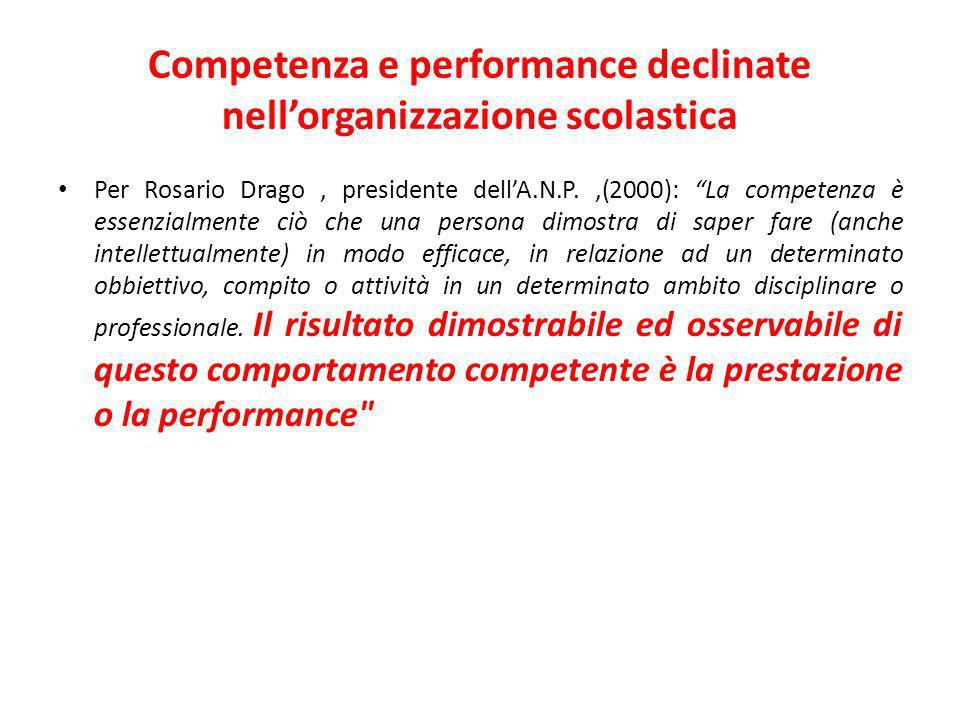 Competenza e performance declinate nell'organizzazione scolastica