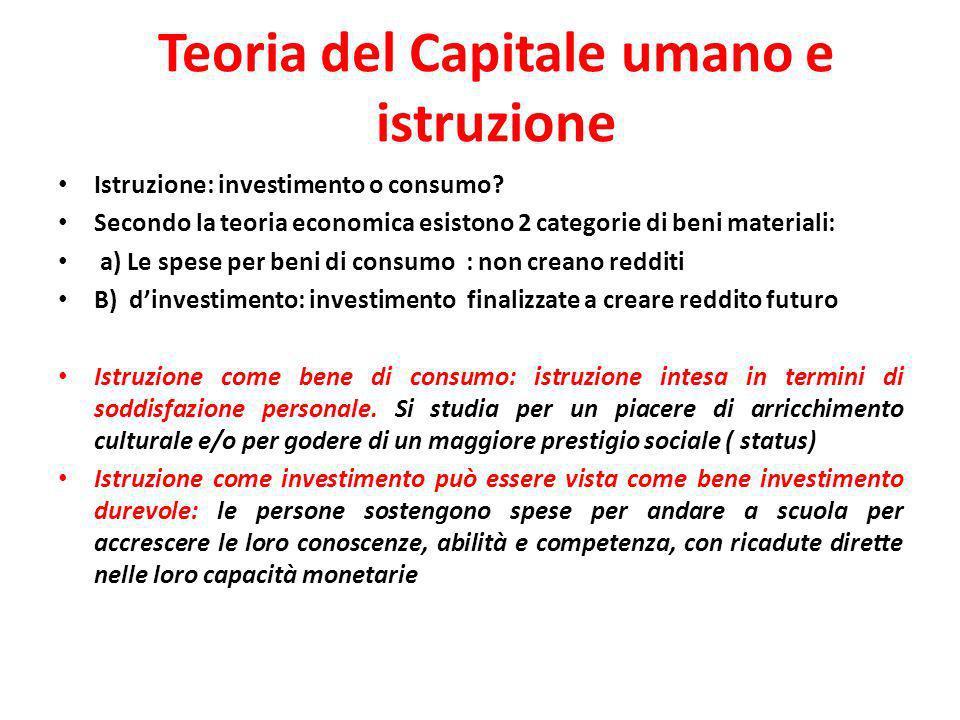 Teoria del Capitale umano e istruzione
