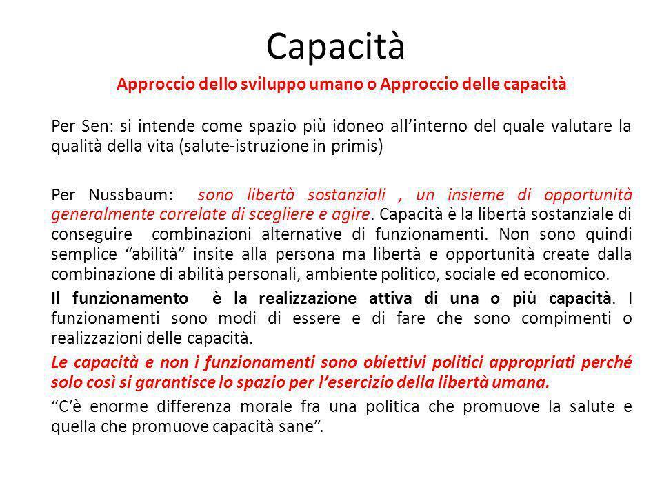 Approccio dello sviluppo umano o Approccio delle capacità
